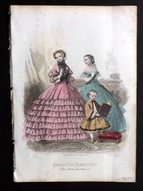 Journal des Demoiselles C1850 Antique Hand Col Fashion Print 73